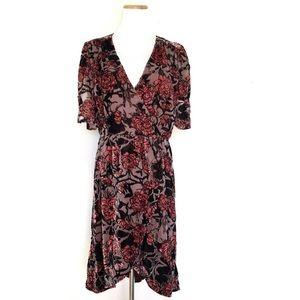 Leith Bohemian Boho Burnout Floral Dress Rose